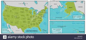 United States Map With Oceans by United States Map Alaska And Hawaii Stock Photos U0026 United States