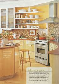 bright yellow kitchen brown tile backsplash maybe yellow walls