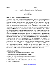 reading comprehension questions 4th grade reading worksheets fourth grade reading worksheets