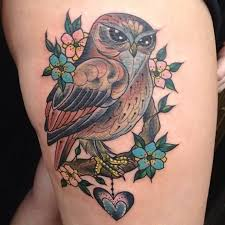 awesome owl on tree on right thigh owl tree moon