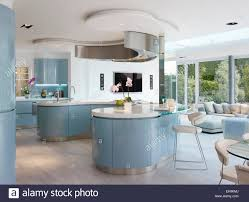 kitchen with island and breakfast bar blue and white curved breakfast bar island in modern kitchen of