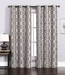 Linen Curtains With Grommets Pair Of Maritza Jacquard Taupe Chocolate Window Curtain Panels W