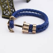 anchor bracelet men images Fashion punk leather bracelet men gold anchor bracelet christmas jpg