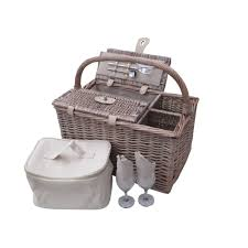 picnic basket set for 2 deluxe antique wash 2 person wicker picnic basket
