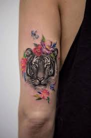 beautiful arm depicting a tiger s which is decorated