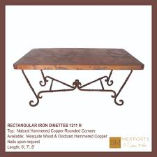 030 rectangular dining table iron chocolate finish copper