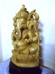ganesha cedar wood sculpture hindu god ganesh statue temple