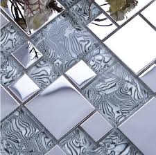 Tile Borders For Kitchen Backsplash Light Gray Glass Mixed Silver Stainless Steel Metal Mosaic For