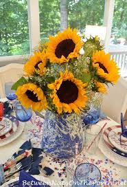 Sunflower Centerpiece 4th Of July Table Setting With Patriotic Flag Dishware