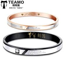 personalized bangle teamo his and hers bracelets true engraved black bangle for