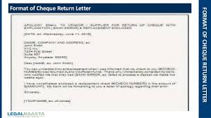 cheque return letter format template legalraasta