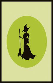 silhouette of witch on a broom photo of the comic silhouette