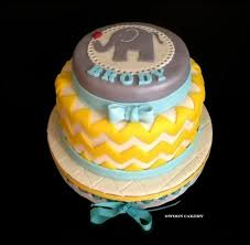 chevron amp elephant print baby shower cake design was based on
