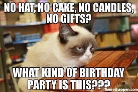 Gifts For Meme - no hat no cake no candles no gifts what kind of birthday party
