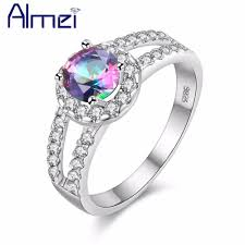 bridal fashion rings images Almei ring silver color fashion crystal with white big stone jpg
