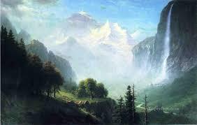 Mountain Landscape Paintings by Falls Near Lauterbrunnen Switzerland Albert Bierstadt Mountain