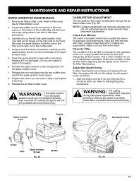 warning maintenance and repair instructions troy bilt tb20cs