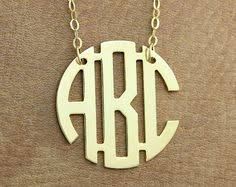 three initial monogram necklace monogram necklace 1 inch personalized monogram necklace gold