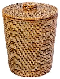 la jolla rattan round wastebasket with plastic insert and lid