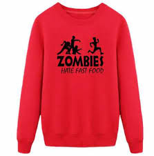 funny zombie sweatshirt for teens zombies fast food printed