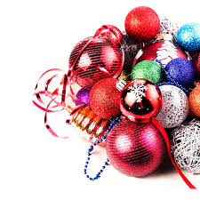 christmas card with pile of christmas balls and decorations fe