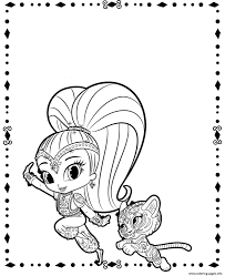shine and tiger from shimmer and shine coloring pages printable