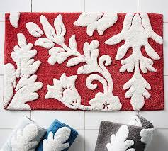 Stylish Bathroom Rugs Damask Bath Rug Pottery Barn