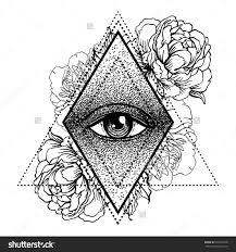 blackwork flash all seeing eye pyramid symbol with peony