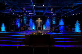 Church Stage Christmas Decorations Bucket Branches Church Stage Design Ideas Spray Painted White