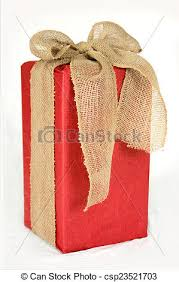 big present bow big christmas gift box wrapped in burlap bow a big stock