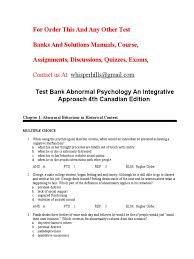 test bank abnormal psychology an integrative approach 4th canadian