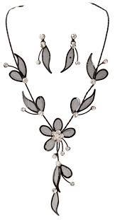 black flower necklace images Black mesh flower necklace set wholesale ns5459bk jpg