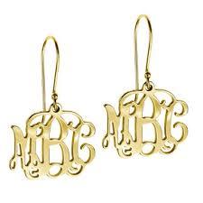 Gold Monogram Earrings Yellow Gold U201cbecky U201d Monogram Earrings Spirit Filled Designs