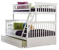 Queen Size Bed With Trundle Amazon Com Columbia Bunk Bed With Trundle Bed Twin Over Full