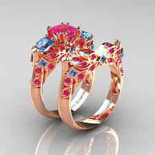 three ring wedding set classic 14k gold three princess pink sapphire blue