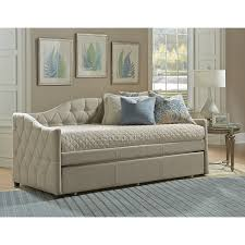 Ashley Home Furniture Furniture Beige Leather Tufted Ashley Furniture Daybed With