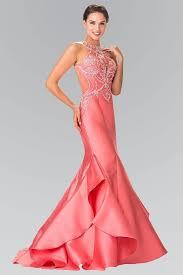 elizabeth k gl2213 off the shoulder lace sheer back dress in blush