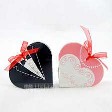 favor ribbons tuxedo gown heart shaped favor boxes with ribbons set of 12