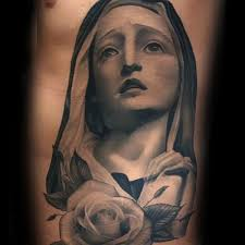 holy virgin mary guys shaded rib cage side of body tattoos black
