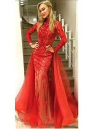 product search red lace dress long sleeve high quality wedding
