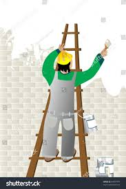 painting a wall man painting wall ladder stock illustration 64064779 shutterstock