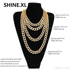chain length mens necklace images 2018 hip hop iced out bling rhinestone crystal goldgen finish jpg