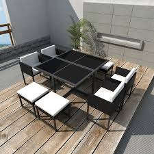 Outdoor Wicker Dining Set Vidaxl 21 Piece Outdoor Dining Set Black Poly Rattan Vidaxl Com