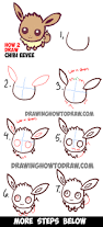 how to draw cute baby chibi eevee from pokemon easy step by step