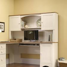 Computer Hutch Desk With Doors Furniture Fine White L Shaped Corner Computer Desk With Hutch