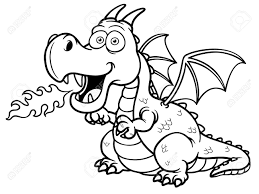 vector illustration cartoon dragon fire coloring book royalty