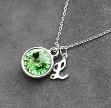 custom birthstone necklaces initial birthstone necklace august birthstone jewelry peridot