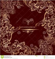 Invitation Card With Photo Royal Invitation Card With Golden Vintage Ornament Stock Photo