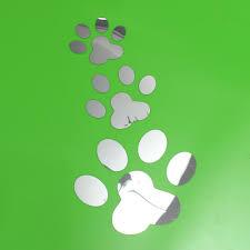3pcs pet cat dog paw print footprint 3d mirror wall sticker decal