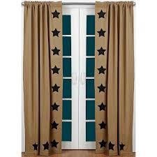 burlap black stencil star curtain panels primitive home decors